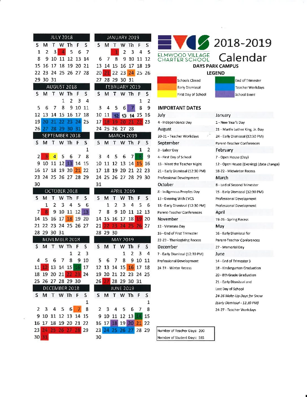 Elmwood Village Charter Schools 2018 2019 Calendars