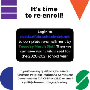 Re-Enrollment for Current Families: Log in to evcsbuffalo.schoolmint.net