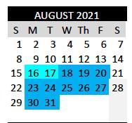 Teacher Workdays - August 18-31, 2021