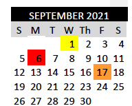 First Day of School - September 1, 2021